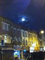 A bright summery full moon