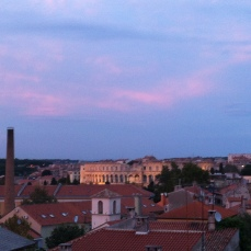 Pink dust on Pula arena
